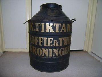 Oud blikken koffieblik. Fa. Tik tak Groningen.