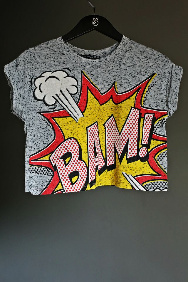 (£7.00) This is an all time classic POP ART crop top with 'BANG' comic cartoon letters. Very trendy and can be purchased with matching style necklaces. Different kinds to choose from. 89% Polyester+11% Cotton. Brand new with tags