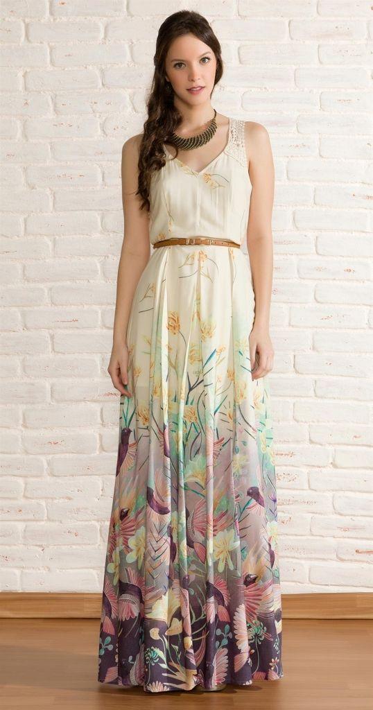 vestido longo floral para a primavera 2013vestido longo floral para a primavera 2013