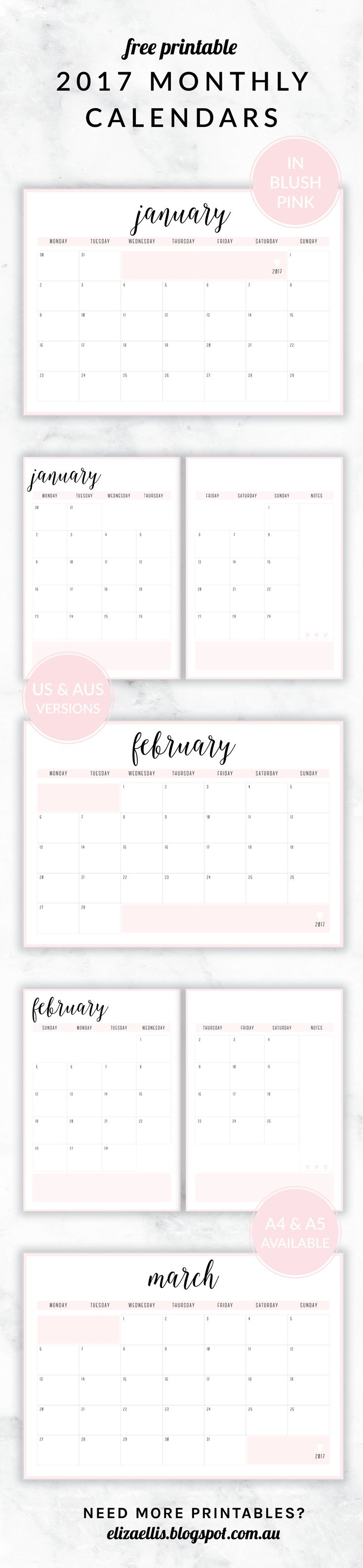 Free Printable 2017 Irma Collection Monthly Calendars // by Eliza Ellis. Available in both A4 and A5 sizes, and in 6 different colors. Check out my website to find matching daily planners, weekly planners, to do lists, notes, accounts, contacts and much much more!