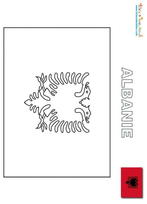 coloriage Albanie : coloriage drapeau