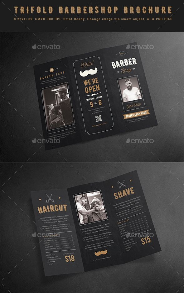 Blackboard Trifold Barbershop Brochure Photoshop PSD Template - Tri fold brochure photoshop template