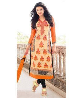 Elegantly Orange And Black Georgette Salwar Suit.