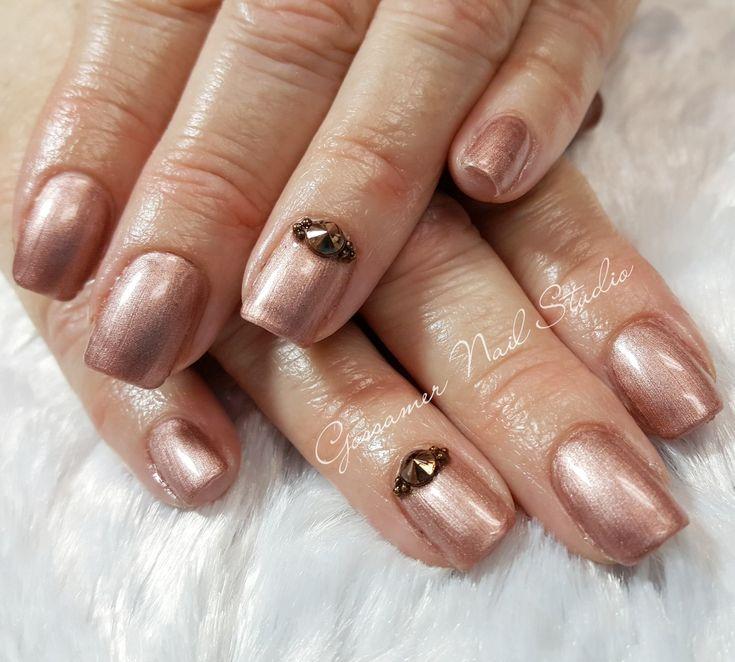 CND Shellac Nail Art by Gossamer Nail Studio, radiant chill, studs, rose gold
