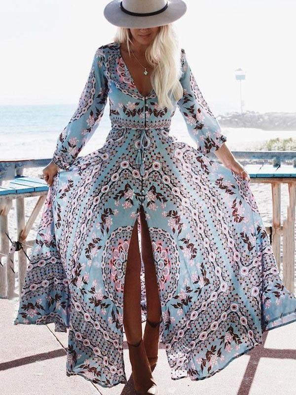 Bohemia Printed V-neck Maxi Dress