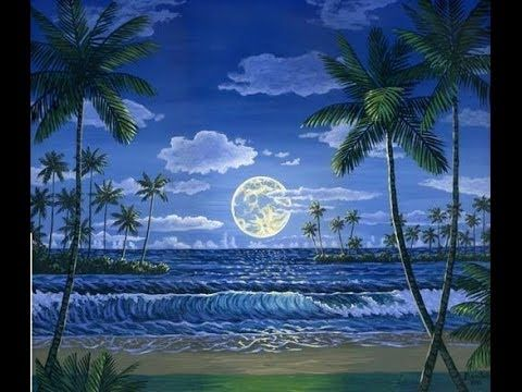 ▶ How To Paint The Moon And Tropical Beach Complete Painting Lesson Art Class Free Video - YouTube