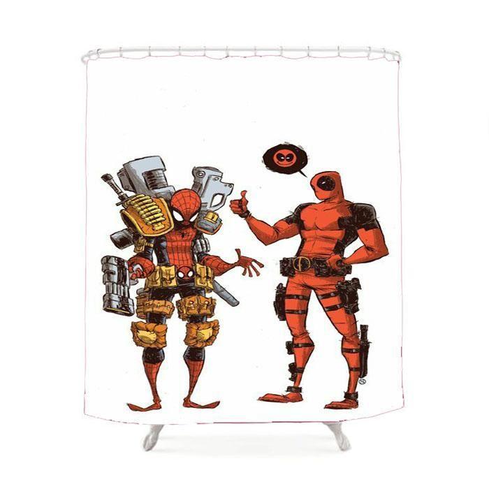 Deadpool And Spiderman Army Shower Curtain Deadpool And