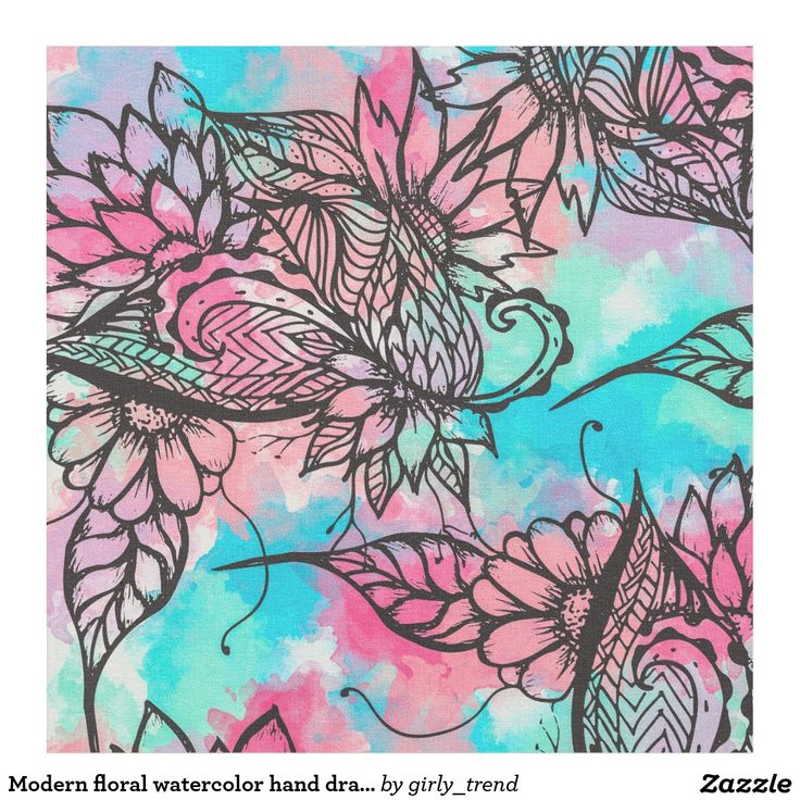 Modern floral watercolor hand drawn fall trend fabric