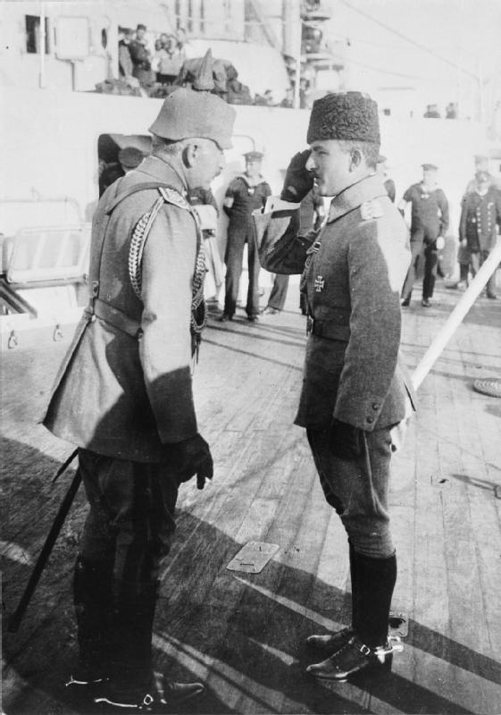 Kaiser Wilhelm of Germany meeting Enver Pasha, the Turkish Minister of War, on the German battleship GOEBEN at Constantinople. October 1917.