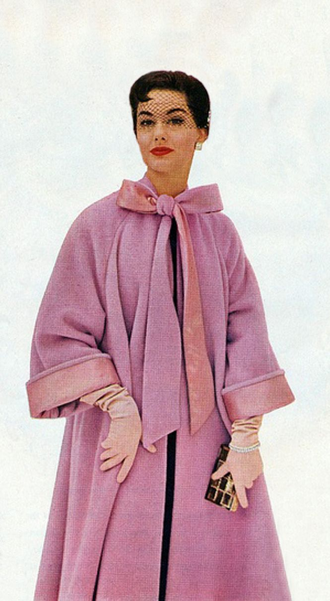 Pink swing coat neck bow model magazine vintage fashion photo print ad 50s Nancy Berg for Worumbo Woolens 1950s