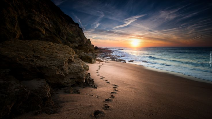 Plaża, Morze, Wschód Słońca, Skały, Ślady