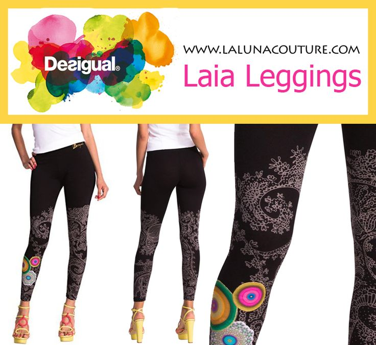 We want to Desigual-ify your wardrobe essentials. These patterned black leggings have a colorful touch you'll love. They're mostly cotton and are stretchy and very comfortable! Only $39! Click link to order now!  https://www.lalunacouture.com/desigual-laia-leggings.html  #desigual #desigualleggings #desiguallaialeggings