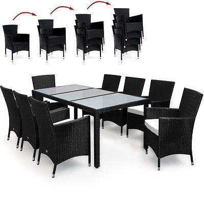 Trend Polyrattan Sitzgruppe Gartengarnitur Sitzgarnitur Gartenm bel Stapelbar in Garten u Terrasse M bel
