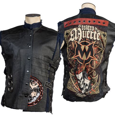 One of a kind. Handmade. Ready to ship. Custom Denim and Leather Vest WSCV-451 RTS