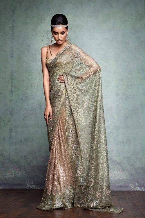 Tarun Tahilian Gold & Blush Sari!!! #saree #indian wedding #fashion #style #bride #bridal party #brides maids #gorgeous #sexy #vibrant #elegant #blouse #choli #jewelry #bangles #lehenga #desi style #designer #outfit #inspired #beautiful #must-have's #india