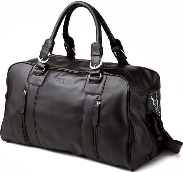 Men's Leather Duffle Travel Gym Shoulder Bag Hand Luggage Carry On Handbag Tote