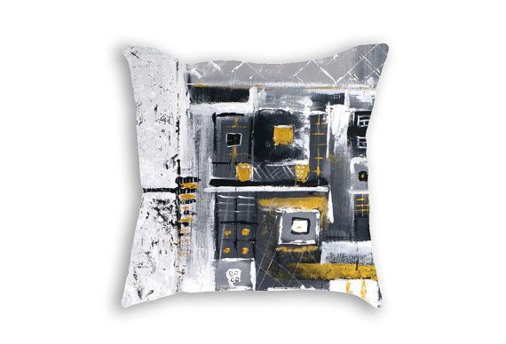 Black and white pillow cover - Minimalistic design decorative pillow - White black cushion case - Throw pillow - Abstract painting print cushion