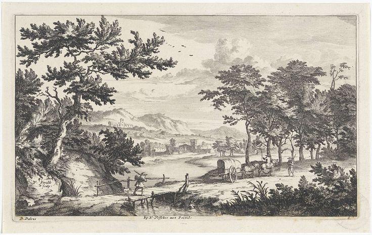 Willem Swidde   Landschap met lage houten brug, Willem Swidde, Nicolaes Visscher (I), Staten Generaal, c. 1676 - 1688   Een man loopt met zijn hond over een lage houten brug over een rivier. Aan de oever ligt op de achtergrond een stad. Hoger in de heuvels ligt een abdij. Op de weg op de voorgrond rijdt een door twee paarden getrokken huifkar. Op het voorste paard zit een man met een zweep. Een man met een stok loopt de kar tegemoet.