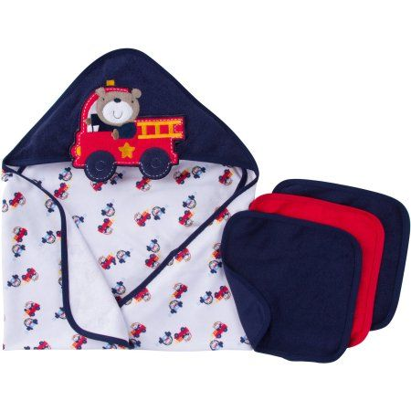 Gerber Newborn Baby Boy Towel and Washcloths Bath Gift Set, 4-Piece, Orange
