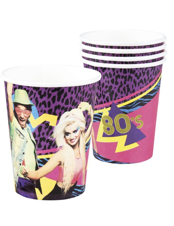 6 bicchieri di carta festa anni '80 su VegaooParty, negozio di articoli per feste. Scopri il maggior catalogo di addobbi e decorazioni per feste del web,  sempre al miglior prezzo!