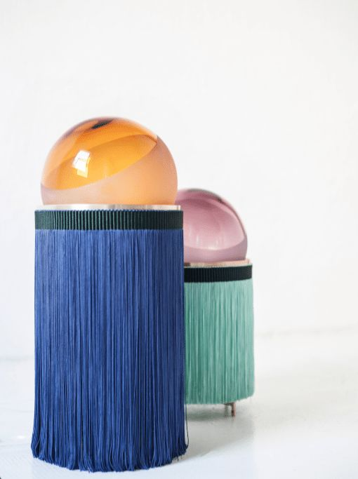Week of November 20, 2017 - Huskdesignblog | Normanna lamps, VI+M studio, Purho | glass lamps | table lamps | fringe lamps | colorful lamps | Murano glass | Italian design | blue table lamp | green table lamp | fringes trend | lighting with fringes | furniture with fringes | contemporary lighting | traditional lamps