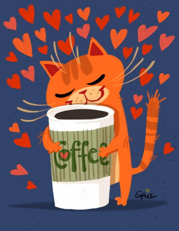 cat loves coffee (by Geuz)