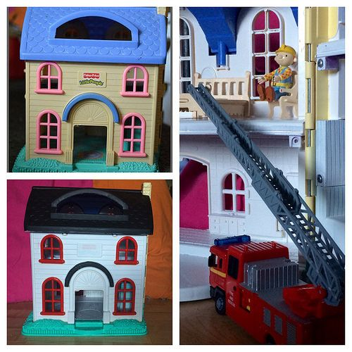 Before and after of fisher-price dollhouse renovation. Turning a thrift shop find into a modern and bright toy. http://EvinOK.com