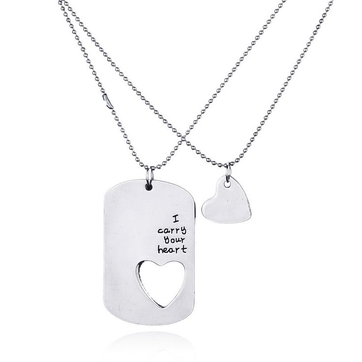 Simple Geometric Lovers Couple Pendants Necklaces Cute Heart Letters Hiphop Necklace For Men Women Jewelry Fashion Bijoux