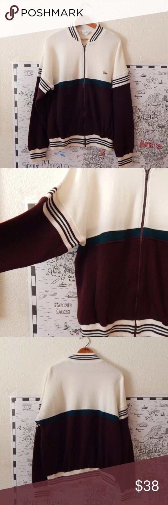 """Vintage Mens Christian Dior Striped Zip Up Sweater Vintage Mens Christian Dior White Striped Zip Up Sweater   100% Acrylic Made in Taiwan Front Pockets Machine or Hand Wash Dry Flat ----->>>Small spot on back, Some pilling, Slight bleeding of color in dior  Tag Size XLarge  Chest circumference: 46"""" (116.84 cm) Hem circumference: 38"""" (96.52 cm) Length: 26"""" (66.04 cm) Sleeve length (from neckline): 31.5"""" (80.01 cm) Shoulder to shoulder: 38"""" (96.52 cm) vintage Sweaters Zip Up"""