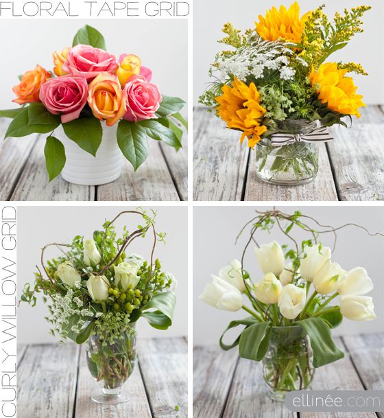 easy diy flower arrangement using tape and curly willow