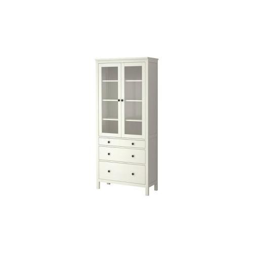 HEMNES Ντουλάπι 3 συρτάρια, γυάλινη πόρτα, λευκή αντικέ βαφή  €349,00