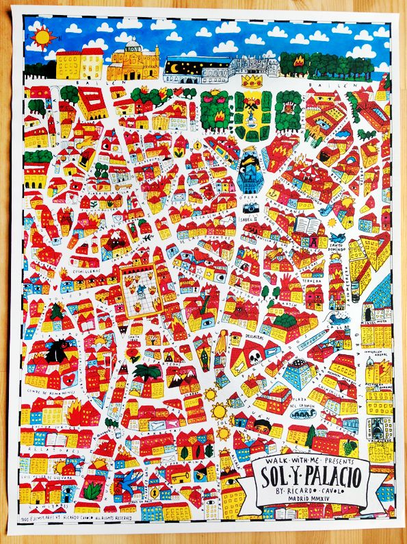 Map of Madrid -  sol y palacio. Ricardo Cavolo