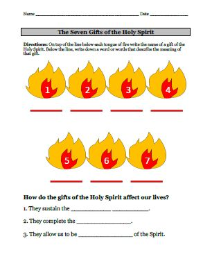 Seven Gifts of the Holy Spirit Video & Worksheet this is perfect!!! what I've been looking for.
