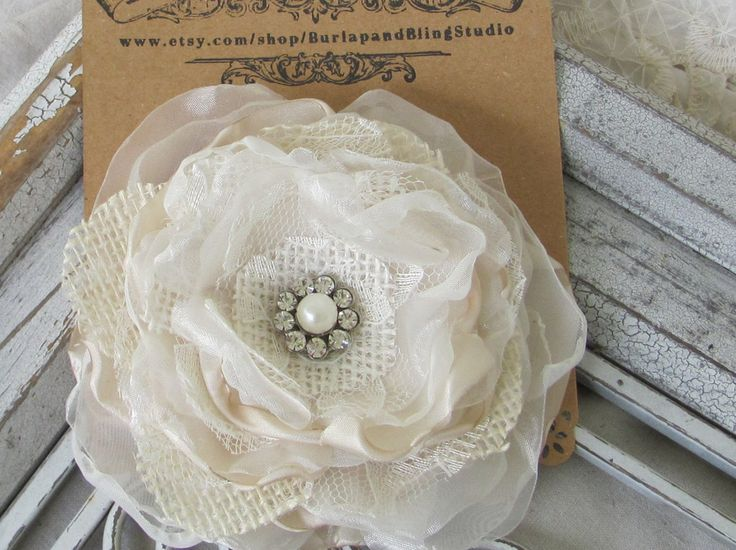 Bridal Hair Flower Cream Burlap, Burlap Wedding Bridal Accessory Bridal Hair Pin This gorgeous hair flower has layers of fabric with a rhinestone and pearl embellishment in the middle. The flower is a