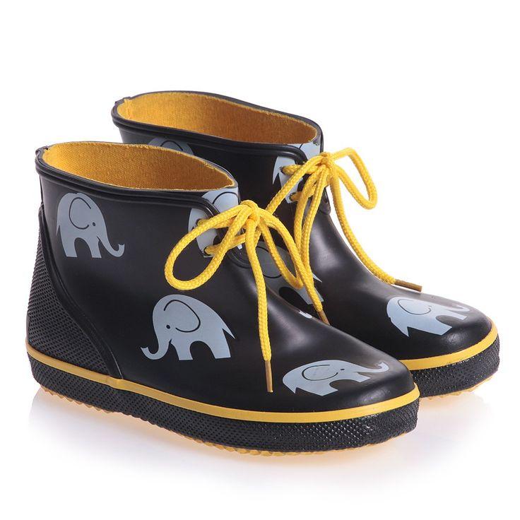 Black Short Rain Boots with Elephants - Shoes | Childrensalon