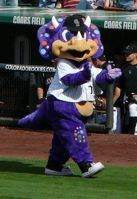 MLB Baseball Mascots: Dinger - Colorado Rockies. Always behind home plate, literally every single game.