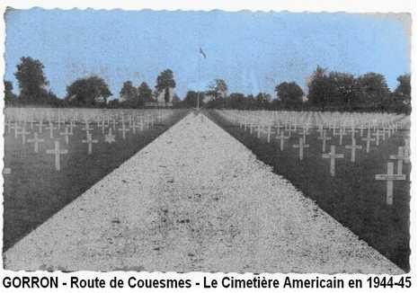 American Cemetary in 1944-45. Route de Couesmes, Gorron