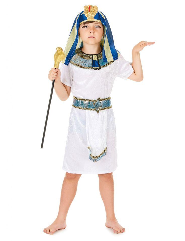 Disfraz de faraón egipcio niño: Este disfraz de faraón de Egipto incluye una túnica, un cuello, un cinturón y una cofia (bastón, joyas y zapatos no incluidos).La túnica es de mangas cortas de...