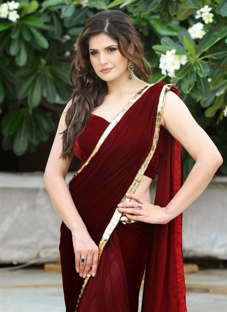 #Zarine_Khan Maroon Indian #Bollywood #Saree In Net & Velvet
