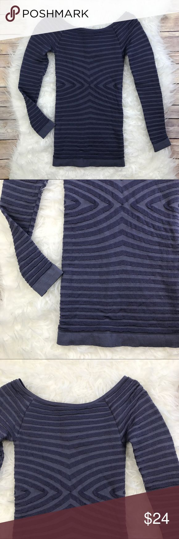 """Free People Bodycon Boatneck Top Good condition Intimately Free People Bodycon purple Boatneck Top. Size XS. Purple with Metallic thick ribs. Super stretchy 92% nylon, 8% spandex. Bust 22""""-36"""", length 23.5"""". Long sleeves. No trades, offers welcome. Free People Tops Blouses"""