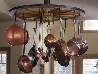 Revolving Pots Hanger made from an old wagon wheel
