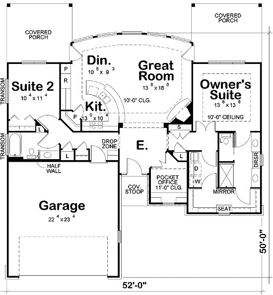 Plan W42211DB: Ranch House Plans & Home Master bedroom entry via laundry