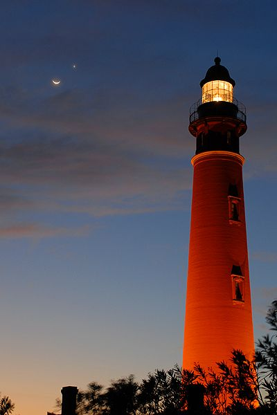 The Moon and Venus over the Ponce Inlet Lighthouse, FL.
