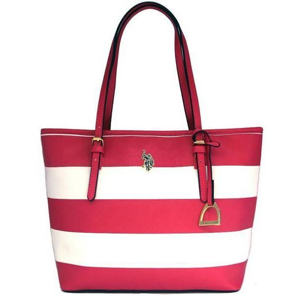 U.S. Polo Association Marin and White Faux Tote Bag, Women's