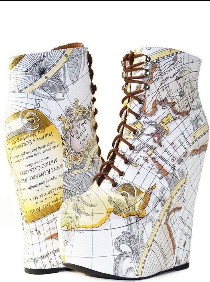 "Jeffrey Campbell ""Damsel"" chart Map Print platfrom heel wedge boot 9.5 NEW #JeffreyCampbell #PlatformsWedges"