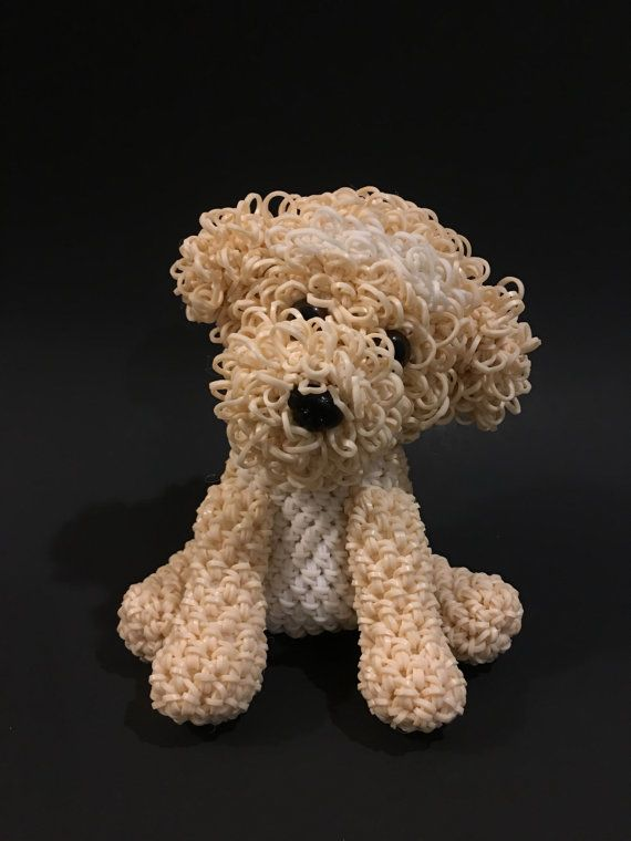 Cockapoo Rubber Band Figure, Rainbow Loom Loomigurumi, Rainbow Loom Dog