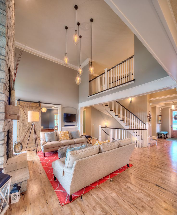 Hearthrrom: Hardwood Floors, Pendant Lighting, Second Floor Overlook To  Living Room, Open