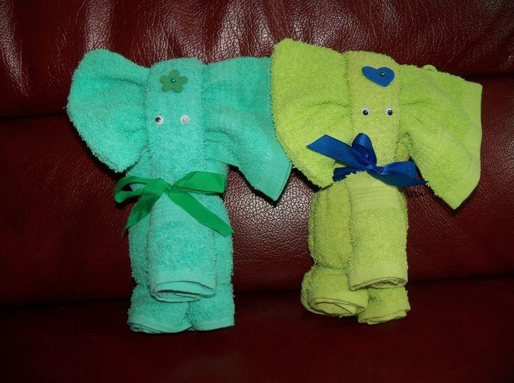 olifantjes van handdoek, gastendoek en washandje