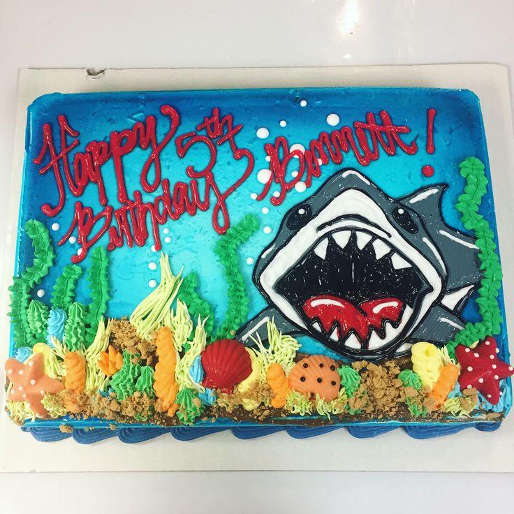 Shark Sheet Cake passend zu Serviette Dairy Queen Sheet Cake Design von Kelsey Scott, …   – Cakes