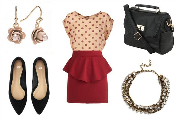 in LOVE with the top/skirt combo. and those flats are perfect. could do without the earrings.